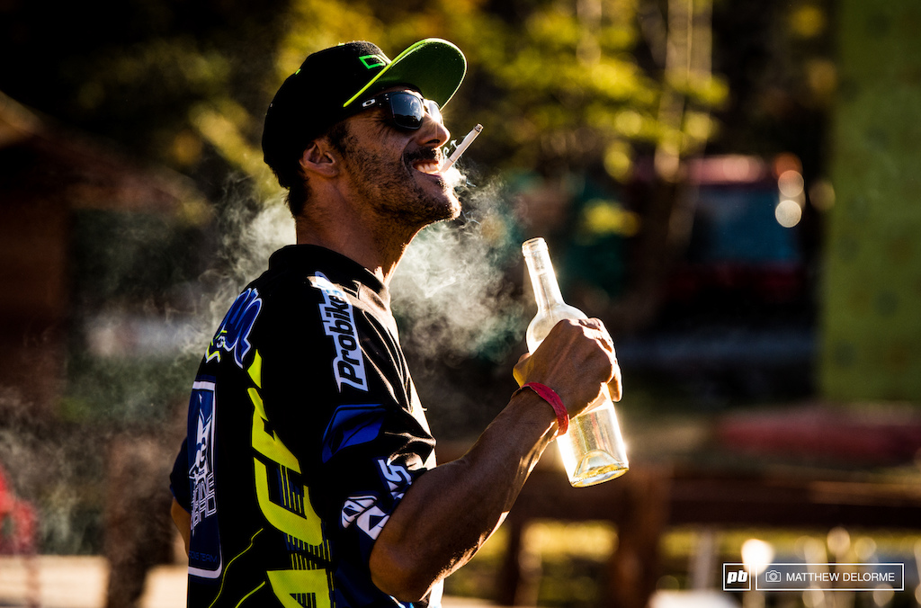 Celebrating the Gracia way. The wild man enjoying a couple of vices after long hard weekend on the bike. In his words F ck it. This is Enduro.