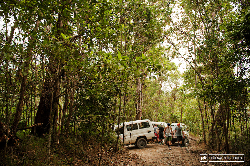The shuttle is much more extreme than South Africa. Shorter but straight up a super steep dirt road freshly coated with gravel up through the middle of the jungle