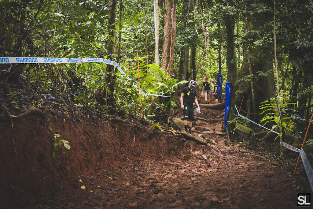 The recent rain has meant that some clay sections of dirt have turned to the consistency of peanut butter also exposing more wet roots and leaving riders wondering what tyre choice to go with.
