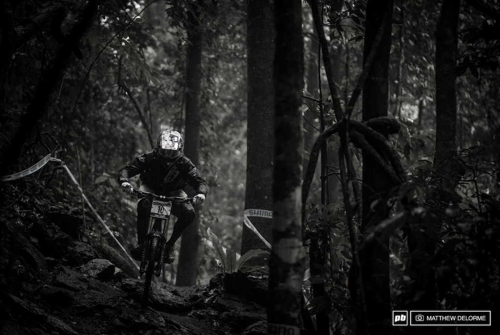 Gee Atherton looked at home in the mud today. Rest assured he is hungry after South Africa and if conditions keep up he could walk away with a win here in Cairns. Atherton was fastest in timed training today.