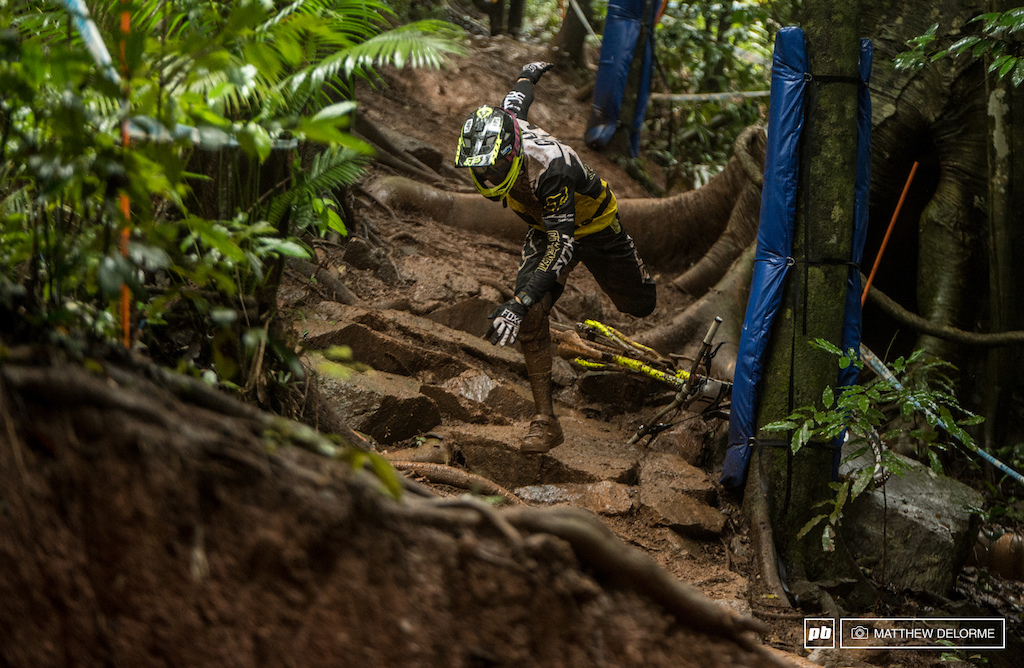 Some spectacular foot work from Cam Cole as he lost the bike but ran it out without wiping out. There were plenty of spills out there today and as of 10 00 PM here in Australia the rains are not letting up.