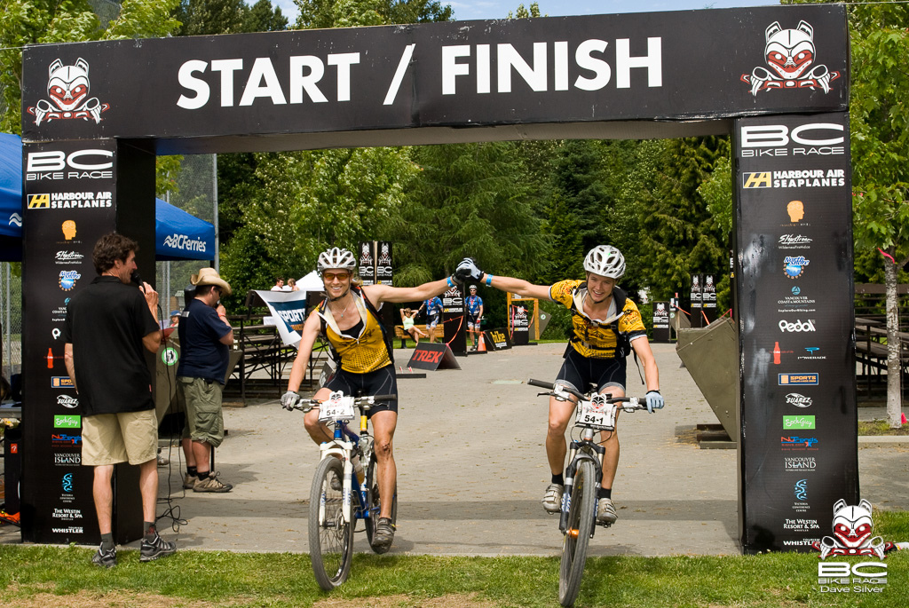 Cynthia and her teammate winning the 2007 BC Bike Race.