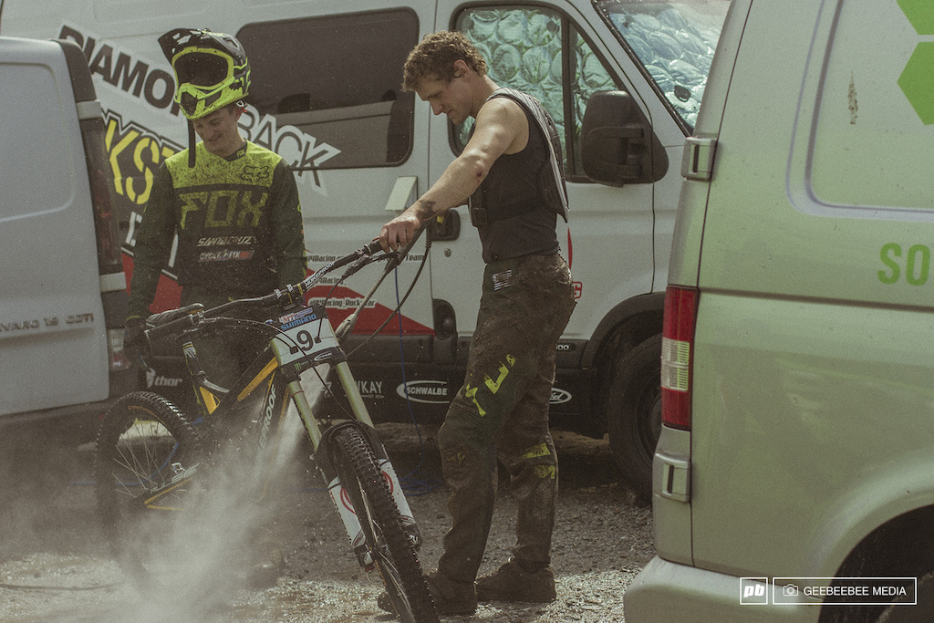 Wideopenmag boys giving their bikes a hose down