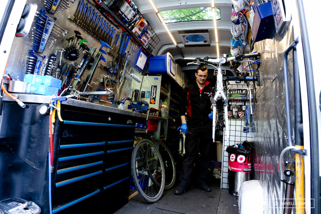 Boris outfitted the pro type VeloFix van by living in a Home Hardware parking long for a week making multiple trips in and out of the store each time he encountered a new dilemma.