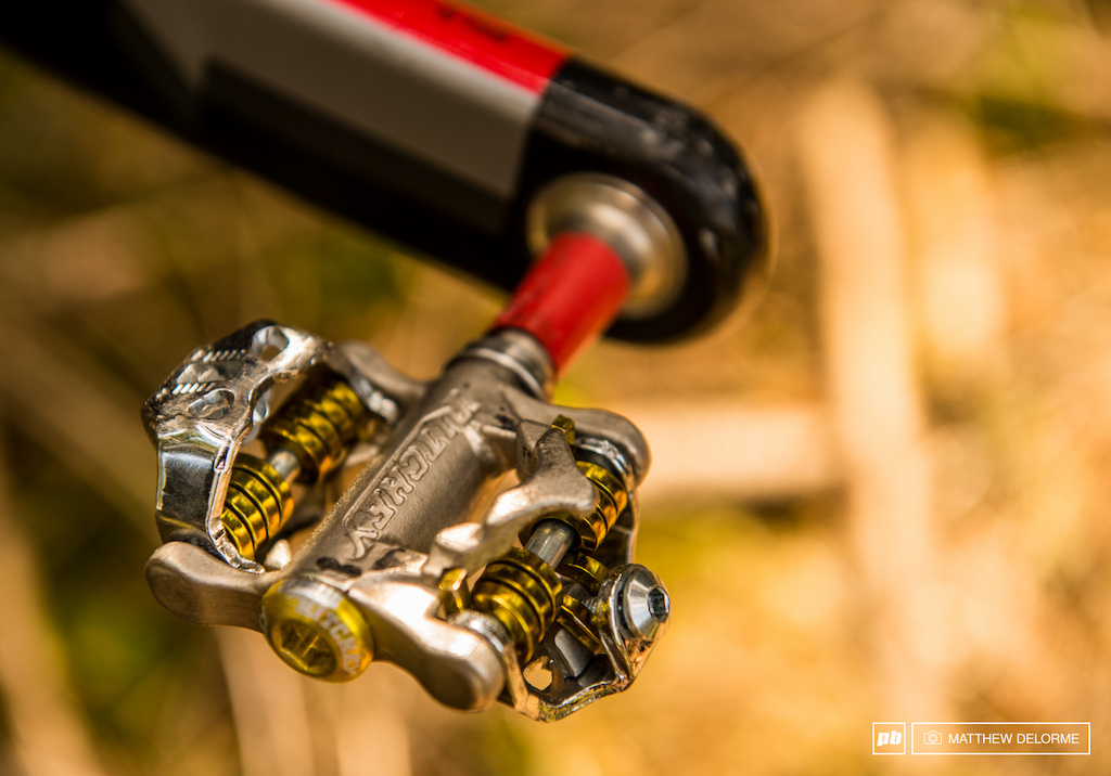 Schurter s ultra light Ritchey Paradigm Pro titanium pedals. 240 grams per pair and SPD cleat compatible though they work best with Ritchey s cleats.