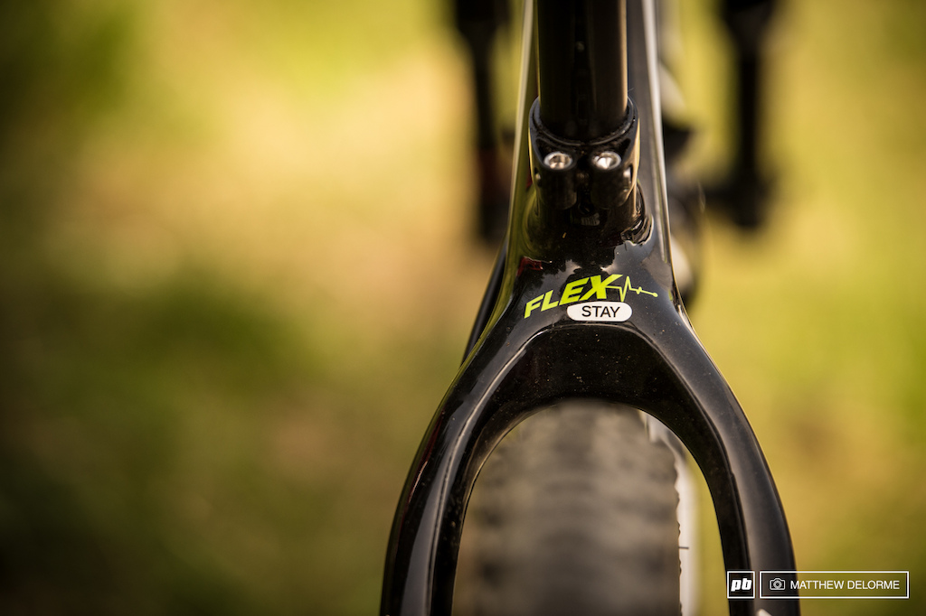 Merida s Flex Stay technology designed to give the bike a bit of the supple suspension feel in the rough stuff.