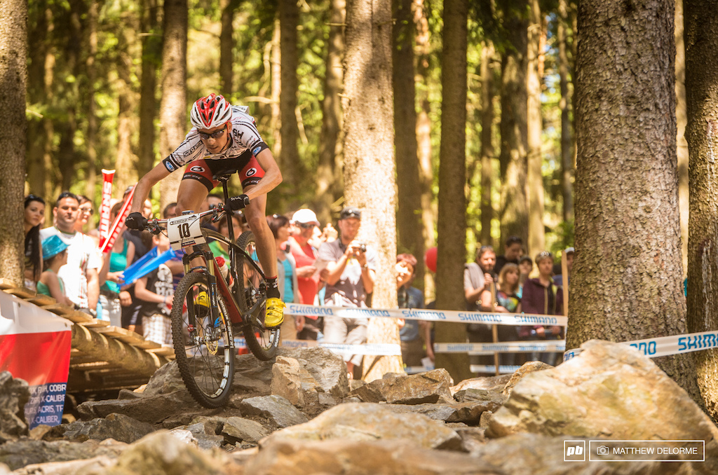 Just another day at the rock pile. Stephane Tempier blasts into the rock garden. Tempier rode to second place today.
