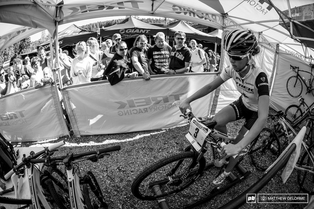 Action shots of Emily Batty at the Nove Mesto XCO WC event by Matt Delorme.