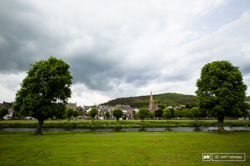 The unsuspecting town of Peebles. Right now the teams are busy putting the final touches to the pit on the far banks of the river Tweed. It s not going to look quite so tranquil when we get into town tomorrow morning...