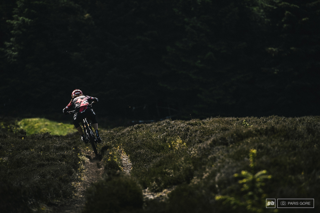 Anneke Beerten ripping into the second stage of the day and into the steepest bits of track on course.