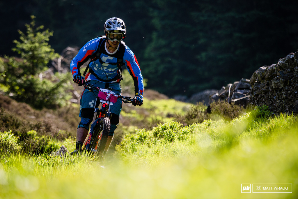 Nico Lau tearing through the grass to a win on stage one.