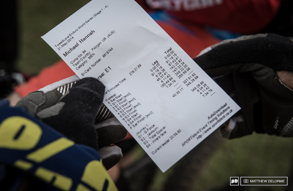 This missing time stamp of stage four on Michael Hannah s race slip. Race organizers recovered the missing times and Hannah is sitting in thirty-eighth. He was 20 plus seconds off Lau on stage four.