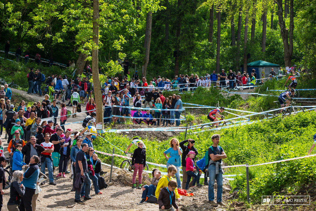 Riders make their way up the trails in Albstadt.