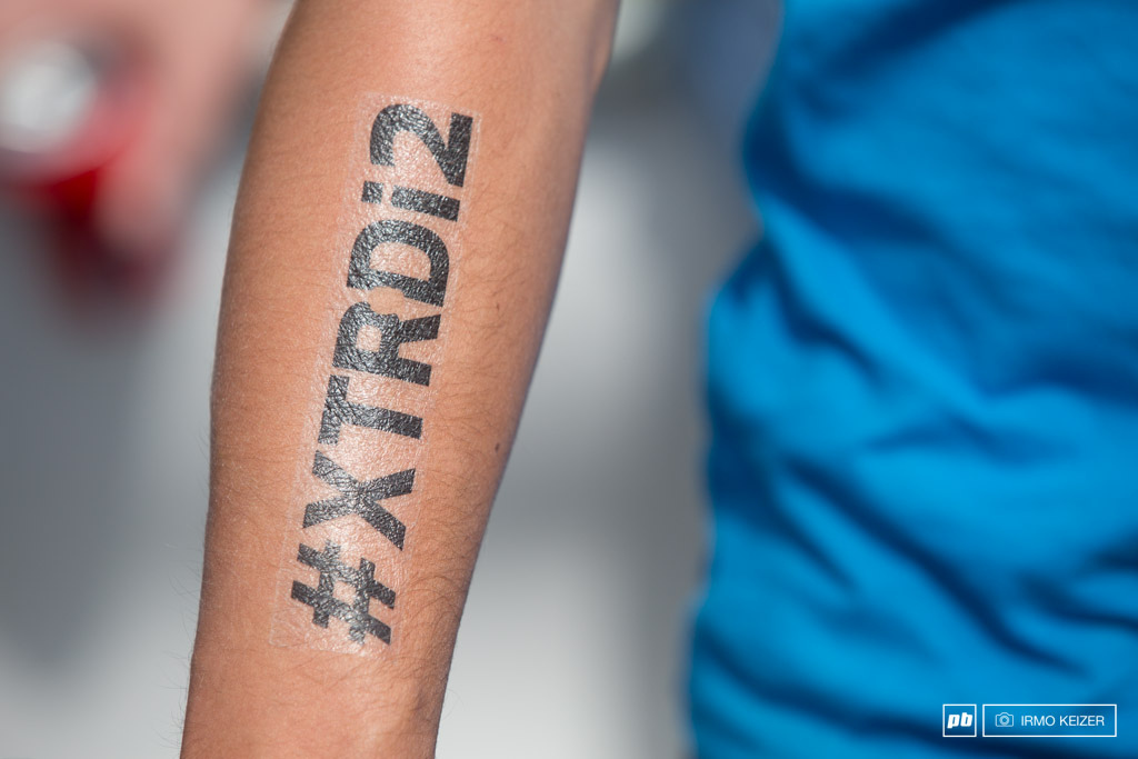 Fake hastag tattoos allover the blue team.