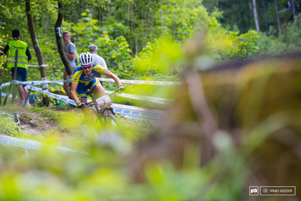 Jenny Rissveds rides smooth yet misses power to ride to the front.