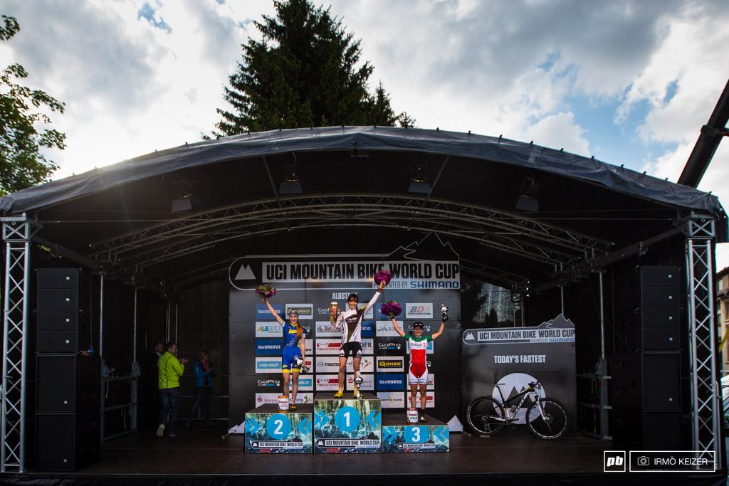 The women s U23 podium. Yana Belomoina Margot Moschetti Lisa Rabensteiner.