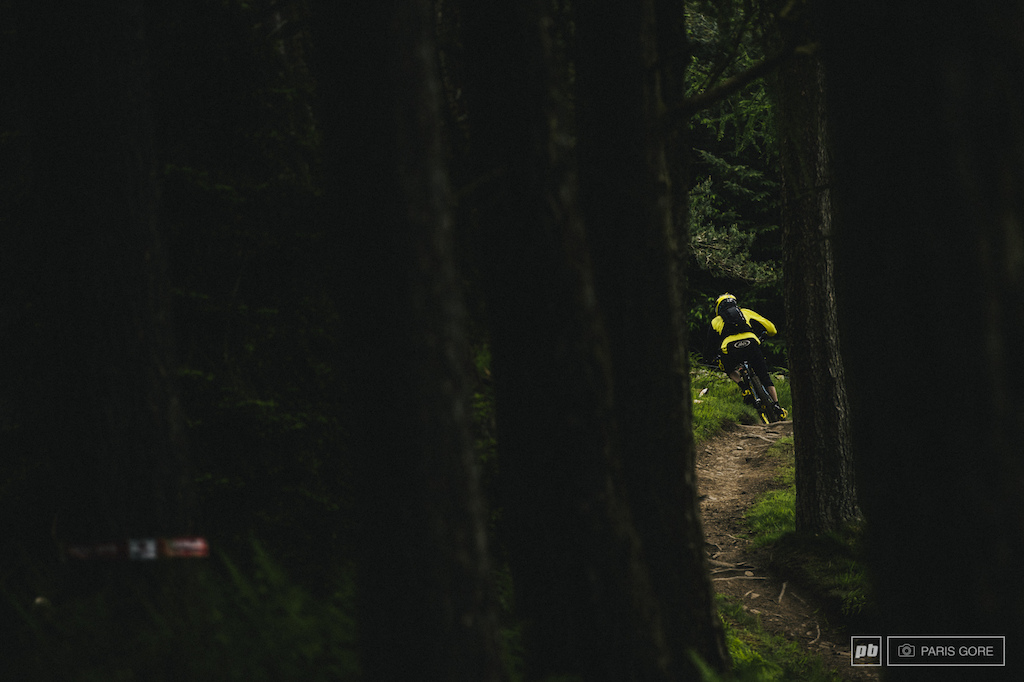 Anne Caroline Chausson slotting through the woods and into second place overall for this weekend.