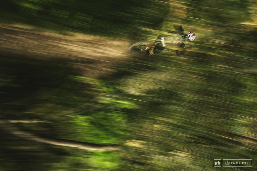 Predator view of Ren Wildhaber shredding through the Scottish forest.
