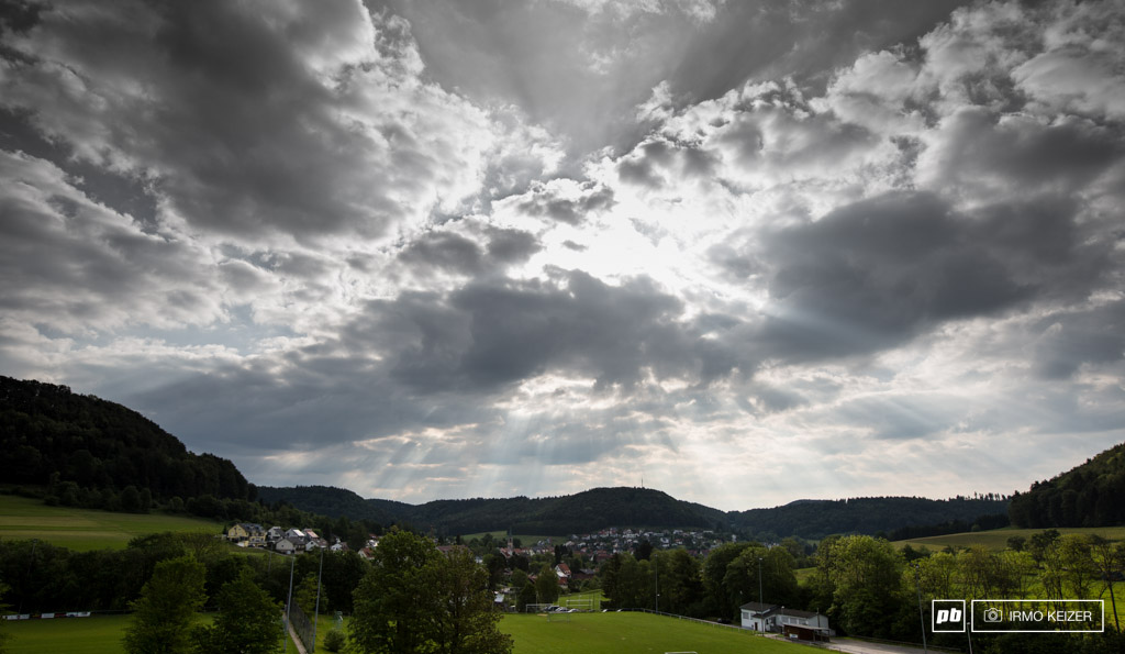Good morning Albstadt. Dark clouds line the sky as race day is about to start. Will it hold