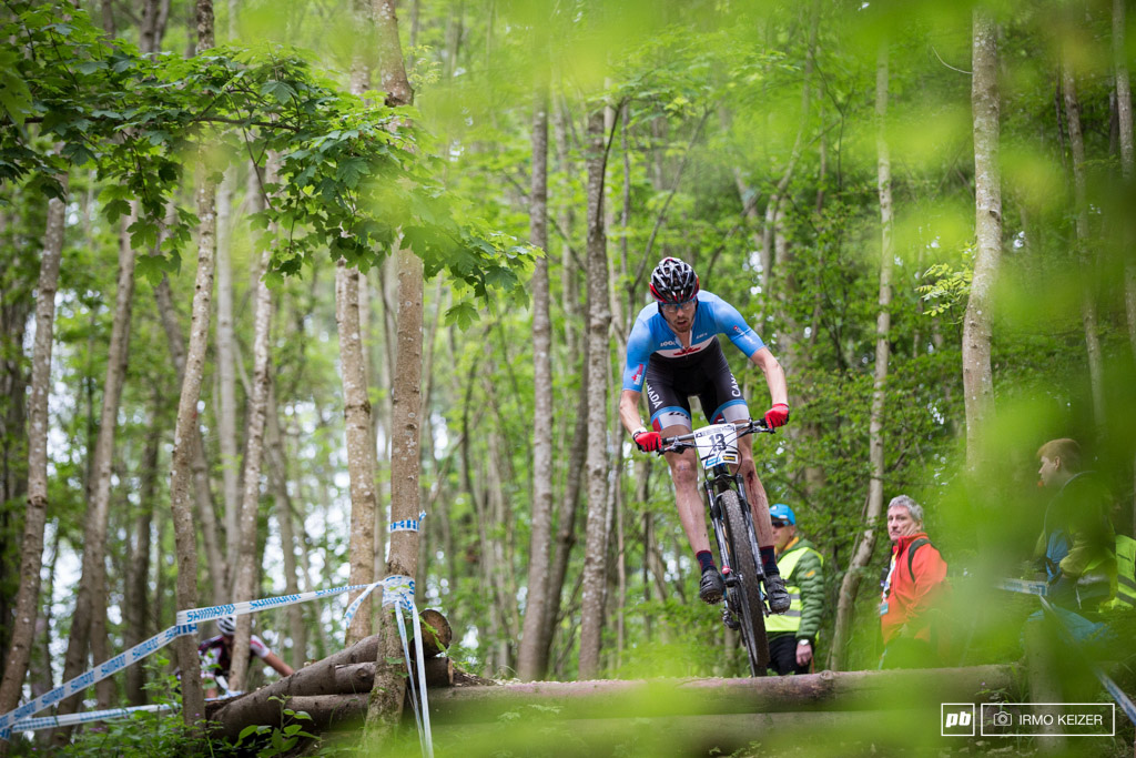 Canada s number one rider in the men s U23 Leandre Bouchard making his way down the Albstadt drop. He finished in 6th.