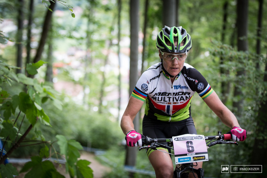 Gunn-Rita Dahle-Flesjaa has been around since back in the days . This veteran is one tough cookie pulling into second in Albstadt.