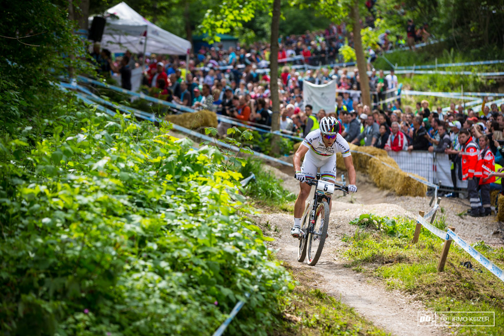 Nino Schurter was off to a terribly fast start. For a while it seemed he would be unchallenged.