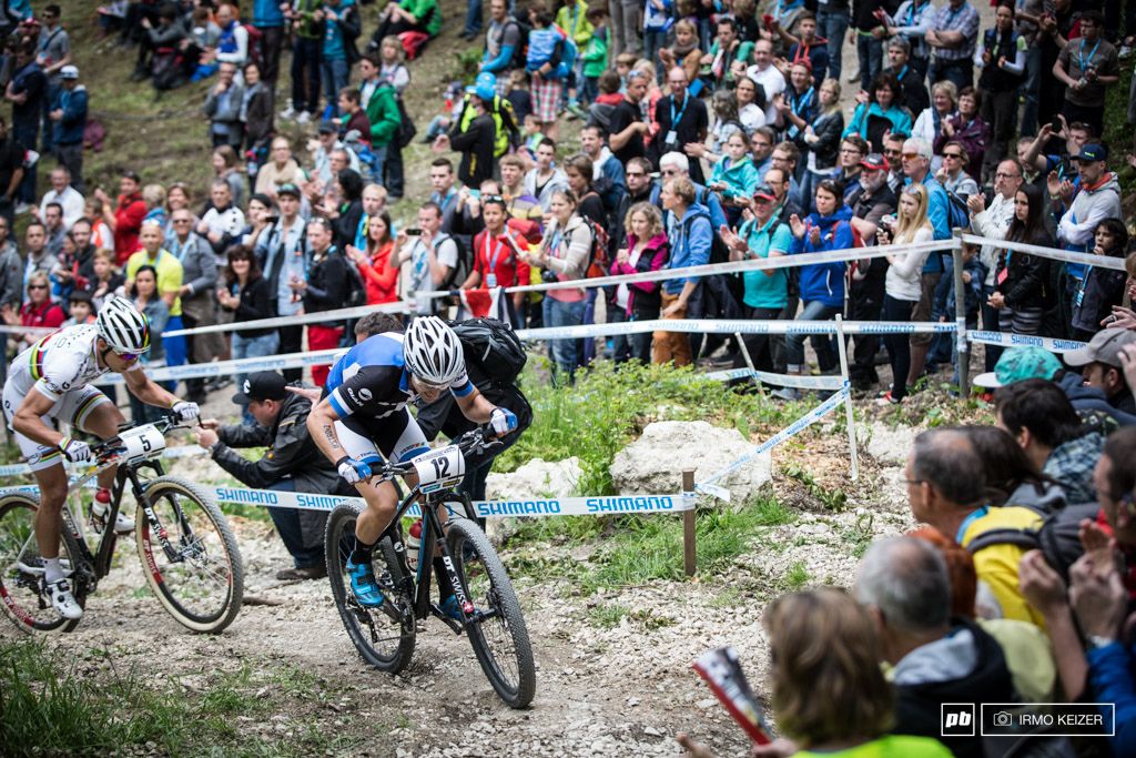 This man Fabian Giger made the race. Schurter and Absalon suffer as he powers up the climb.