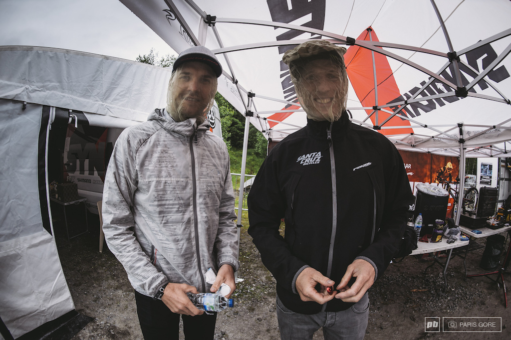 Peaty and Minnaar know all too well about the midges here in Fort William. The Santa Cruz pit got the shaft on location with their tents located in midge central.