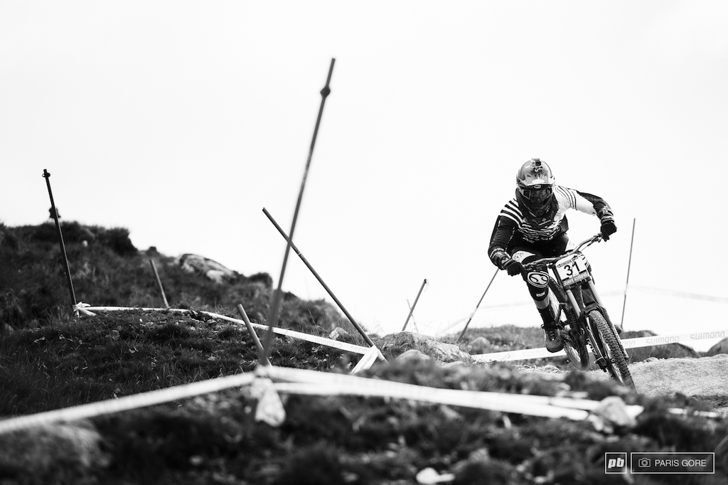 Izak Leivsson weaving through the turns and into the lower bit of track.