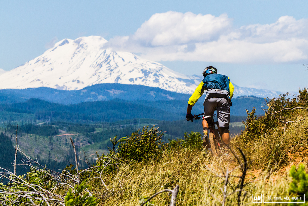 Stage 3 start has some pretty epic view of Mt. Adams in Washington State.