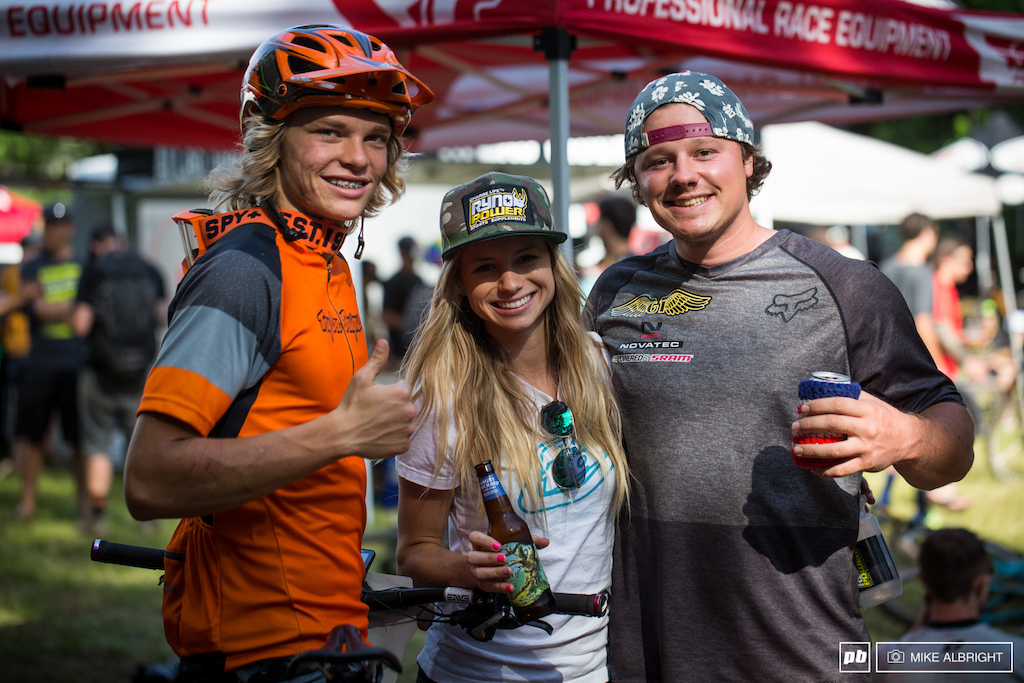 Cody Kelley, Rachel Throop and Kyle Strait, post-race and all smiles.