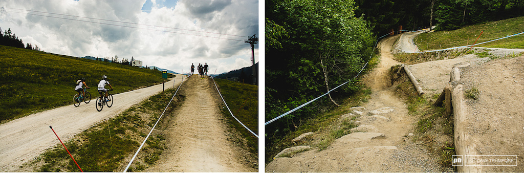 This section isn t too steep but once riders head into the woods things change in a hurry.