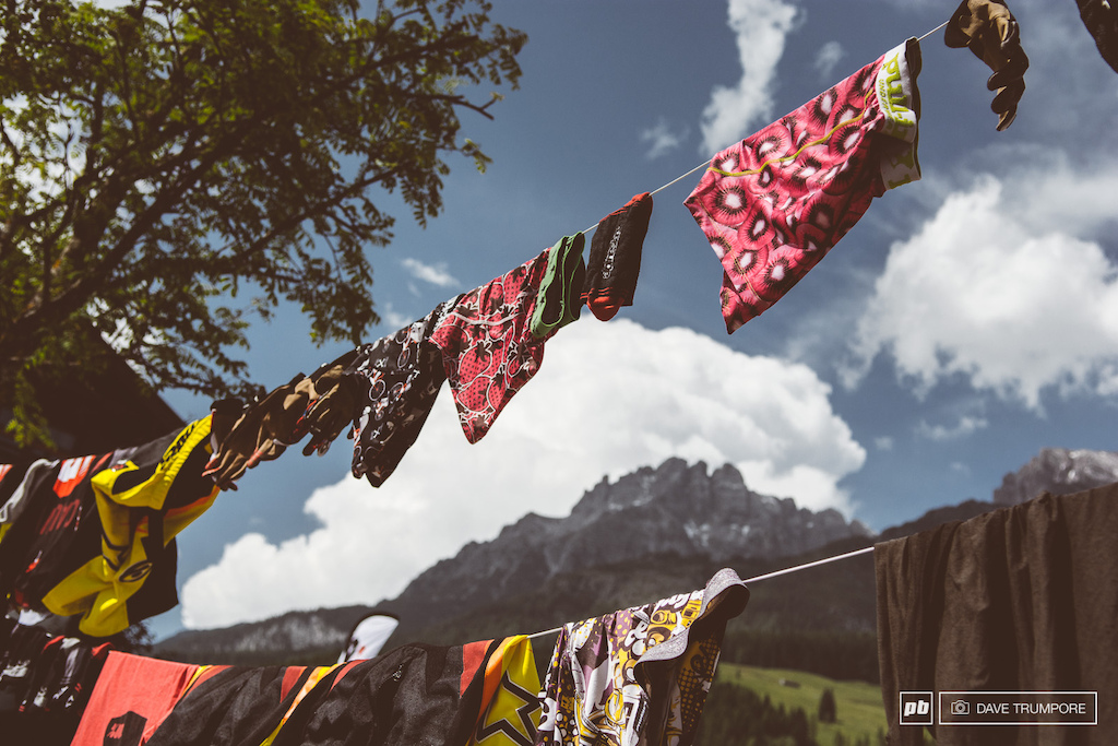 Tibetan prayer flags or riders laundry out to dry inthe Leogang sunshine