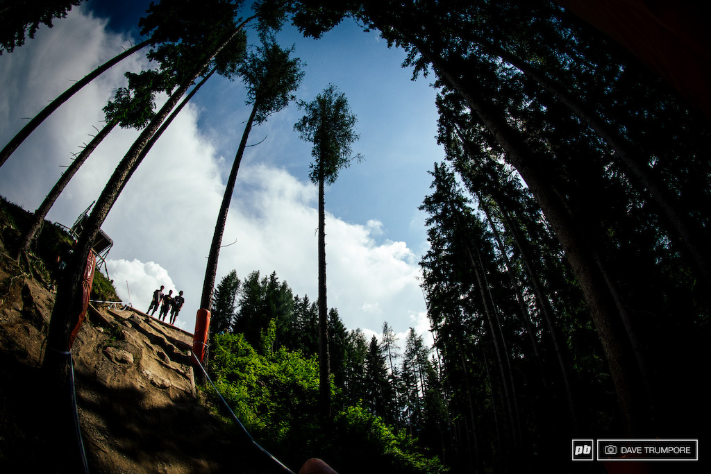 This fly off into the woods is one of the more iconic sections of the leogang track. Get it wrong and it s a long fall to the floor below. Definitely one of those section that s worth a second look.