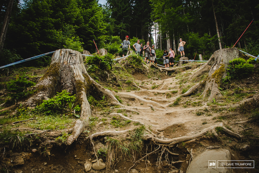 Another Iconic section of the Leogang course this steep and slippery chute withing sight of the finish line has seen many a close call over the years. as the last major technical section of course riders strong run will be pinned here.
