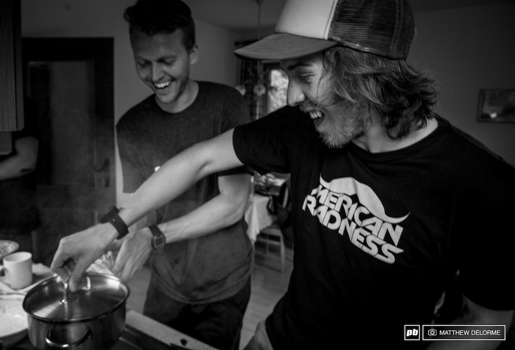 It takes two to strain pasta. Badly. As in it goes everywhere. Paris Gore and Kurt McDowell try and fail at getting synchronized in the kitchen.