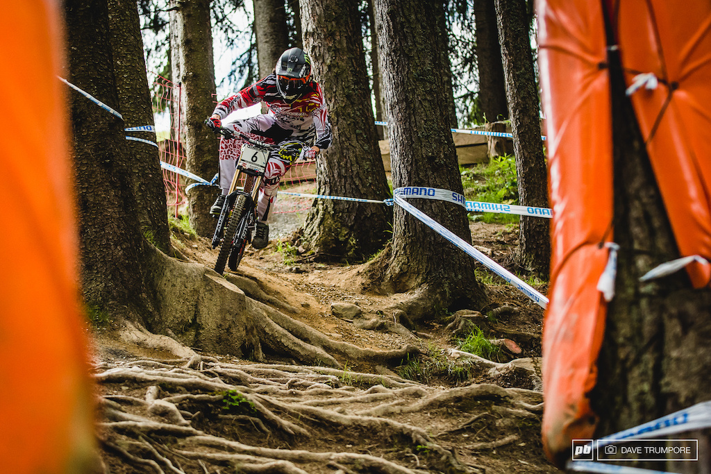 Smooth and fast through all the woods and with the fitness to match in the middle Josh Bryclend tore the Leogang track apart today.