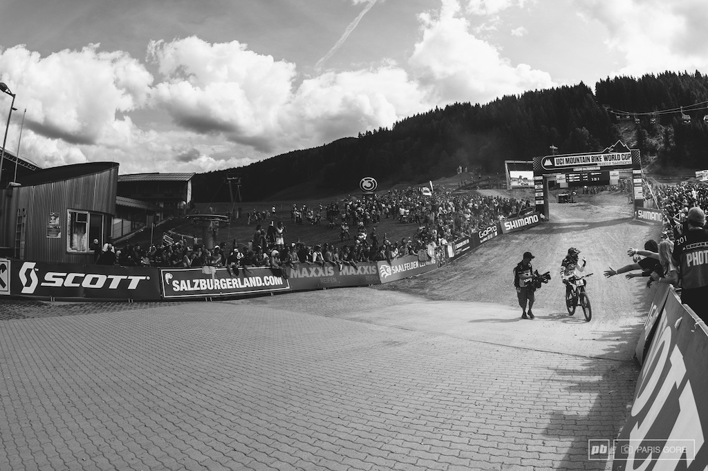 Ratboy coming through the line with Loic still to come down and already celebrating his time spent here in Austria.
