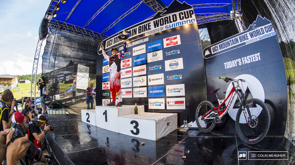 The new Men s World Cup overall leader Troy Brosnan. With Gwin s DFL Dead Effing Last the overall gets a helluva a lot more interesting all of the sudden. Gwin s been solid all season so he s only 29 points behind Brosnan but Bryceland s consistancy has him only another 58 points back from Gwin. And Gee Atherton is a mere 26 points behind Bryceland. With three races to go things are heating up for the overall.