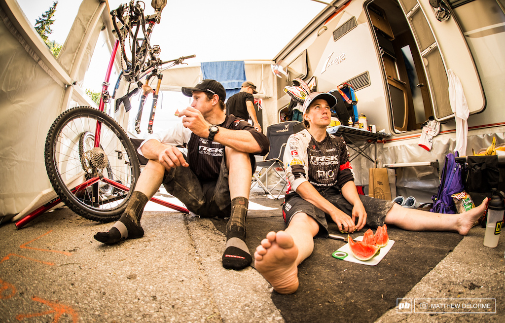 Leov and Mosely do a bit of refueling after todays stages. The two are now solidly in first place after day one.