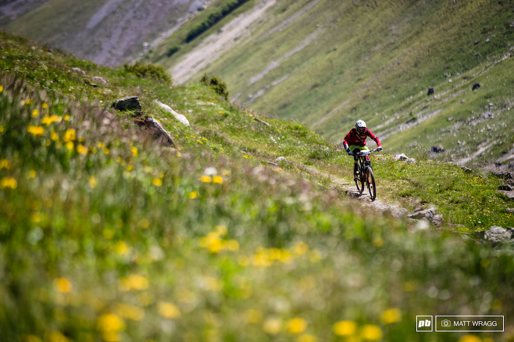 On the lower parts of the stages riders were flying through the flower-filled meadows.