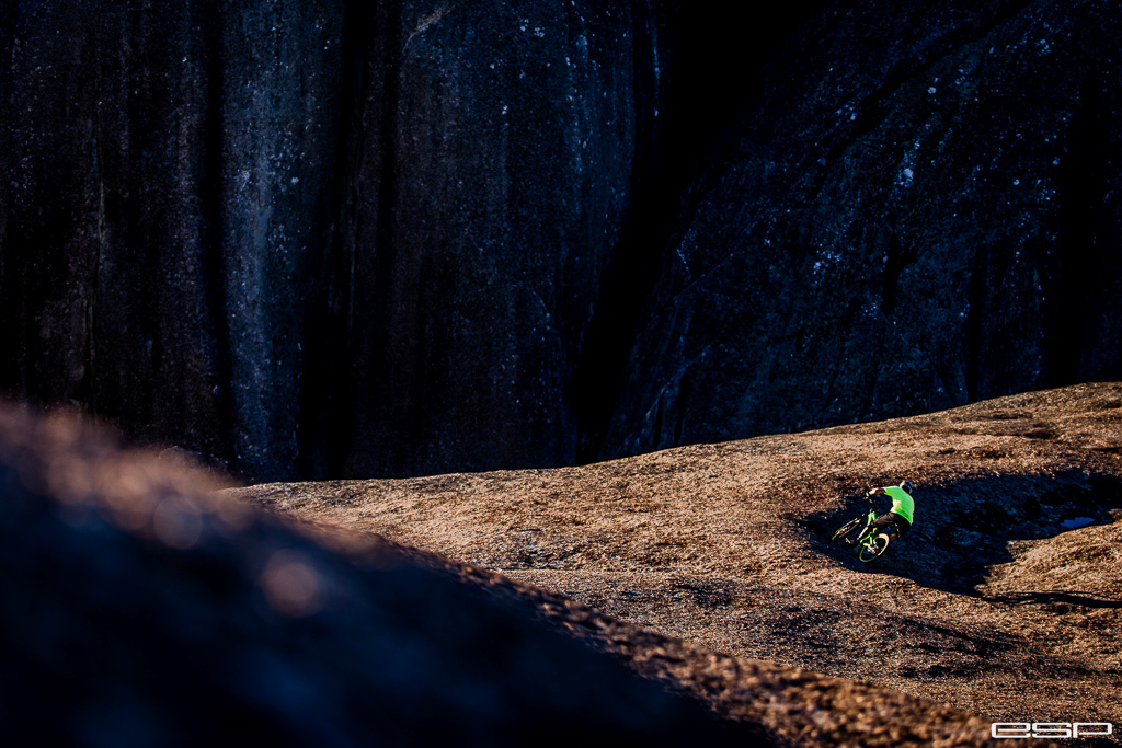 Matthieu Hamel railing the natural granite berms