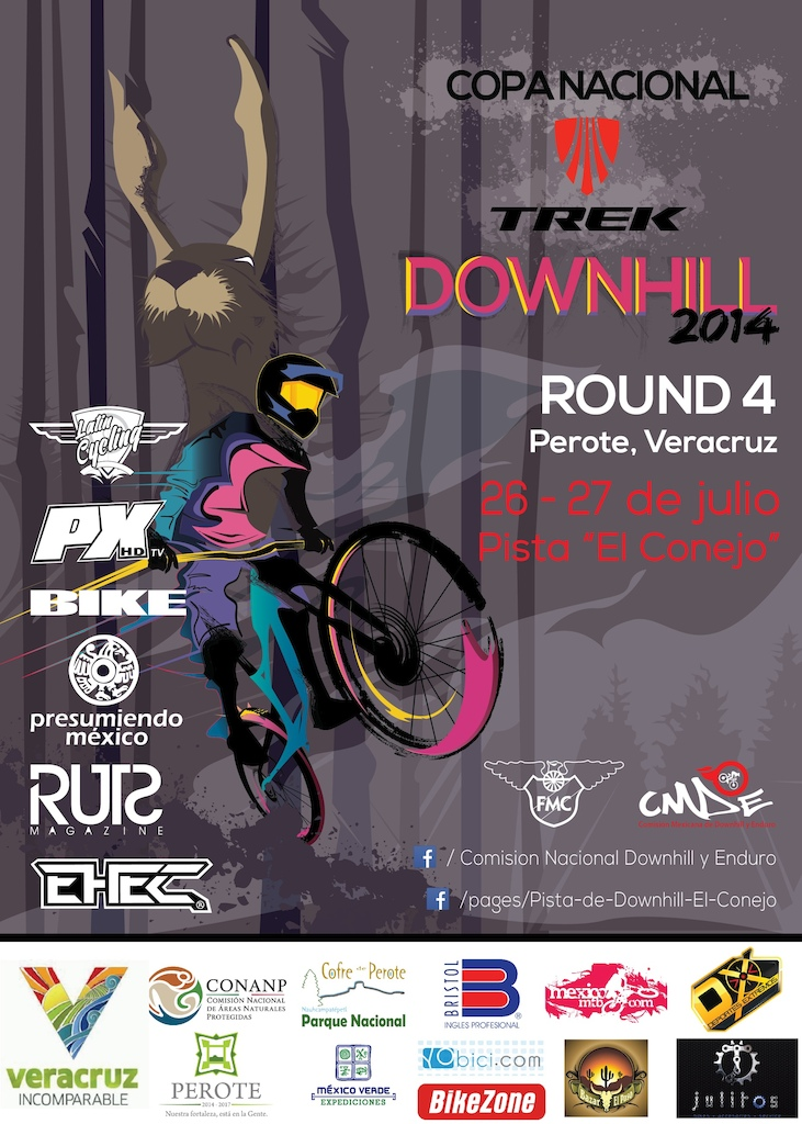 The state of Veracruz will be hosting the 4th round of the Mexican National Downhill Series 2014 on the stunning and super fun track that is the Pista El Conejo Rabbit track . Check out the Facebook page and we hope to see you on the 26th and 27th July.