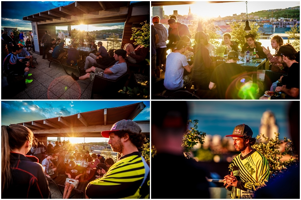 That s how you do a riders meeting BBQ on the rooftop of the hotel during the sunset get an A for the execution.