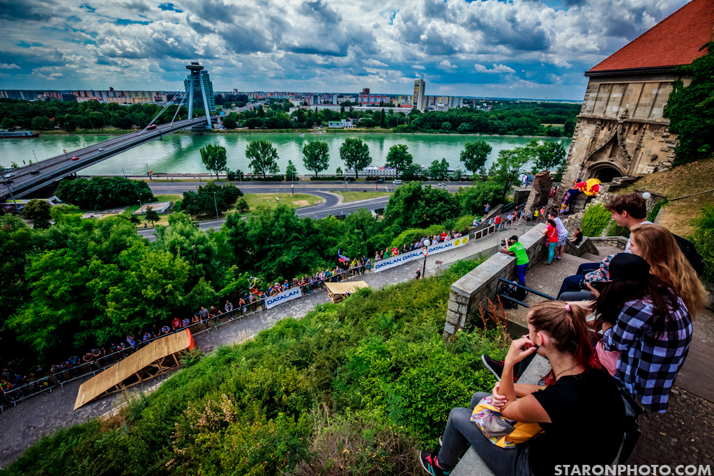 The first section of the track ran through the ancient Bratislava s Castle just above the Dunabe river.