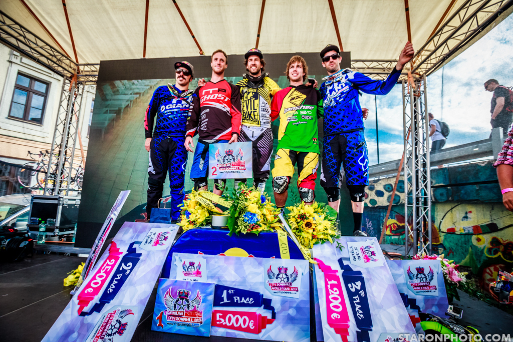 The fast five on a deck. Congratulations to all of the riders how made it to the bottom of Bratislava.