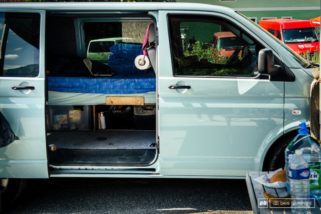 For most riders following the world cup on a limited budget the van conversion seems to be the top choice. Transport storage and accomodation all roled into one.