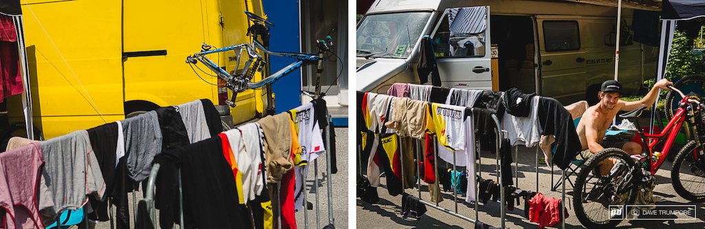 Back to improvisation and covering the basics. A river next to the pits and ample sunshine in Leogang meant it was time to do laundry after a week in Scotland. Dave McMillan knows even privateers need to keep their whites bright.