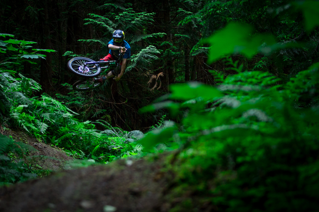 Photo: Hailey Elise. Having a blast in Squamish shortly after a nice rain sprinkling on the trails.