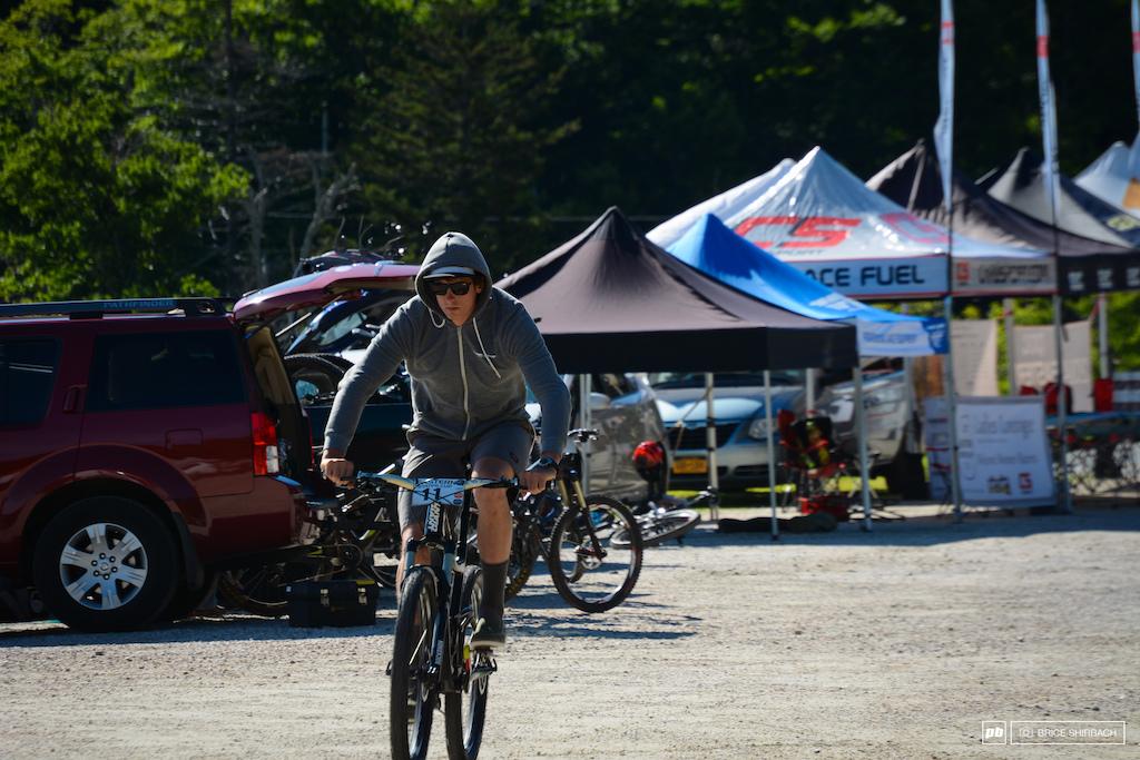 Race mornings find Seamus focused on what lies ahead.